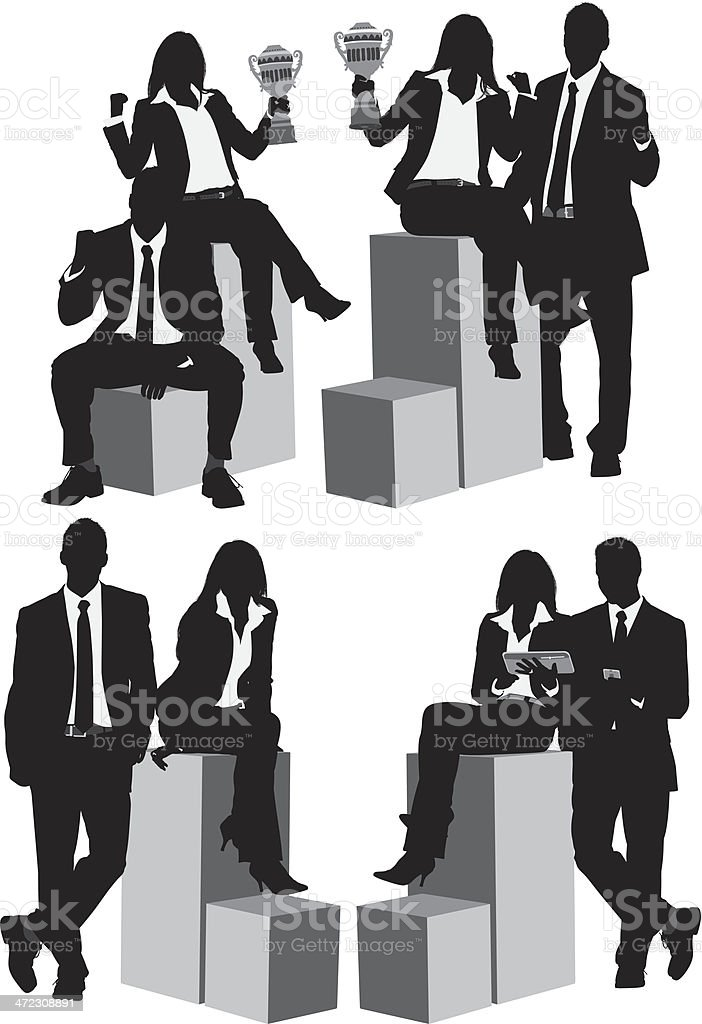 Business people sitting on box royalty-free stock vector art