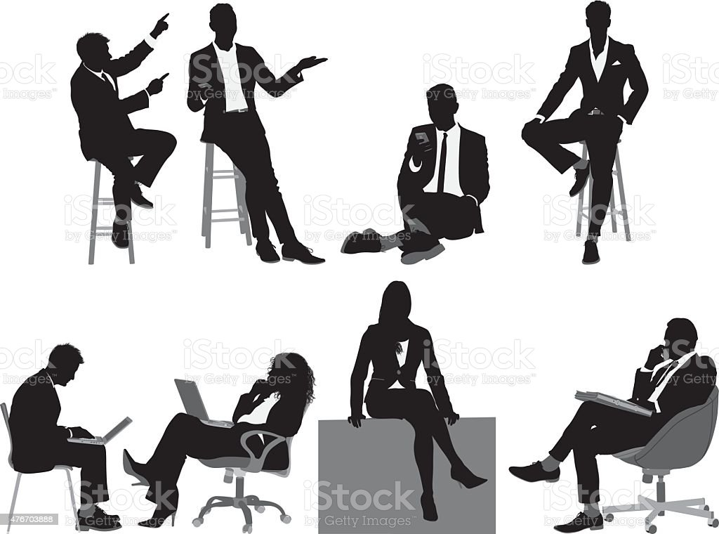 Business people sitting vector art illustration