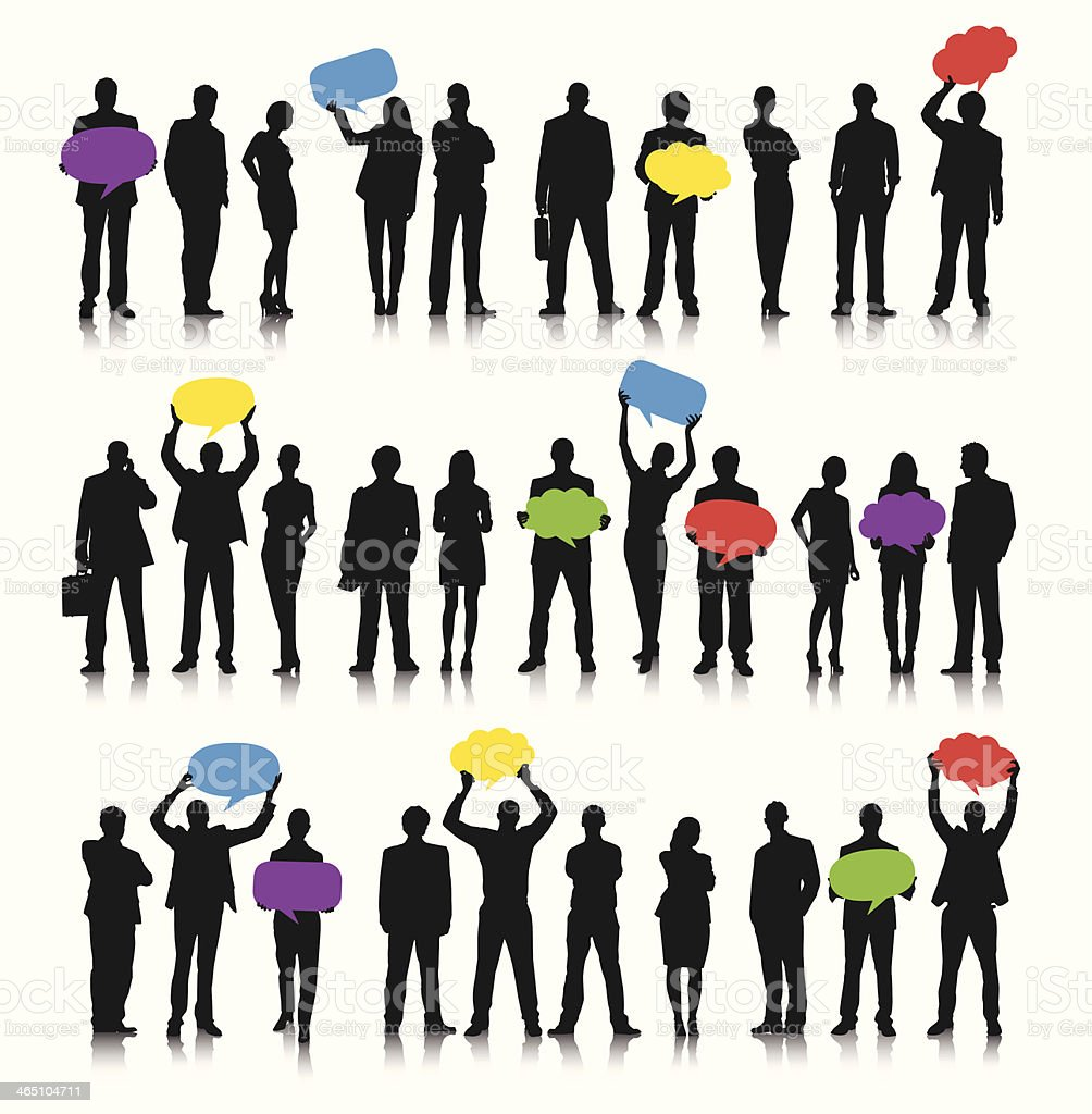 Business people social networking with speech bubbles vector art illustration