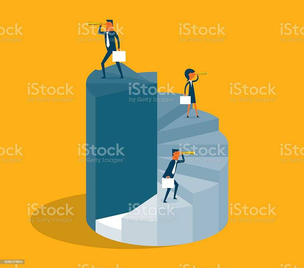 Business People Stand On Pie Diagram vector art illustration