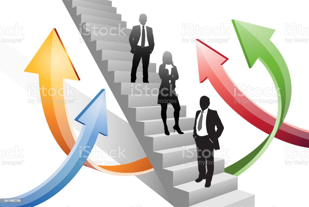 Business people stand on the stairs royalty-free stock vector art