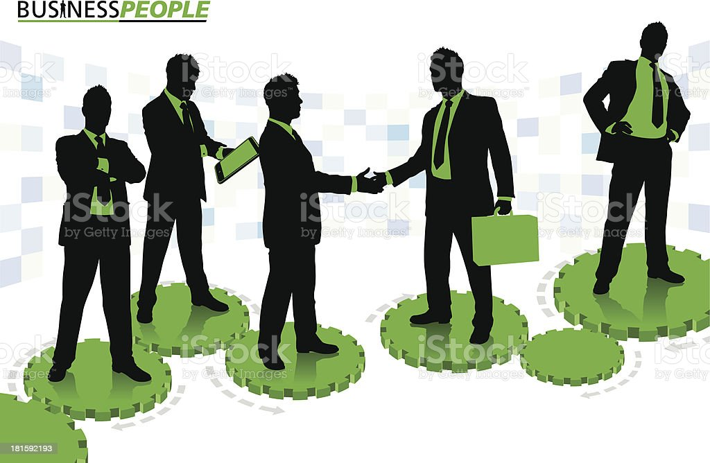 Business People standing on Cogs and Gears royalty-free stock vector art