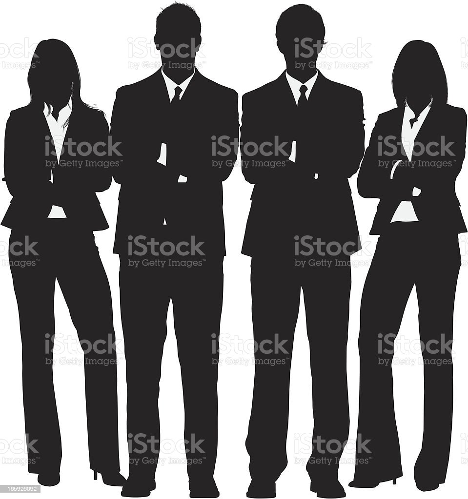 Business people standing with their arms crossed vector art illustration