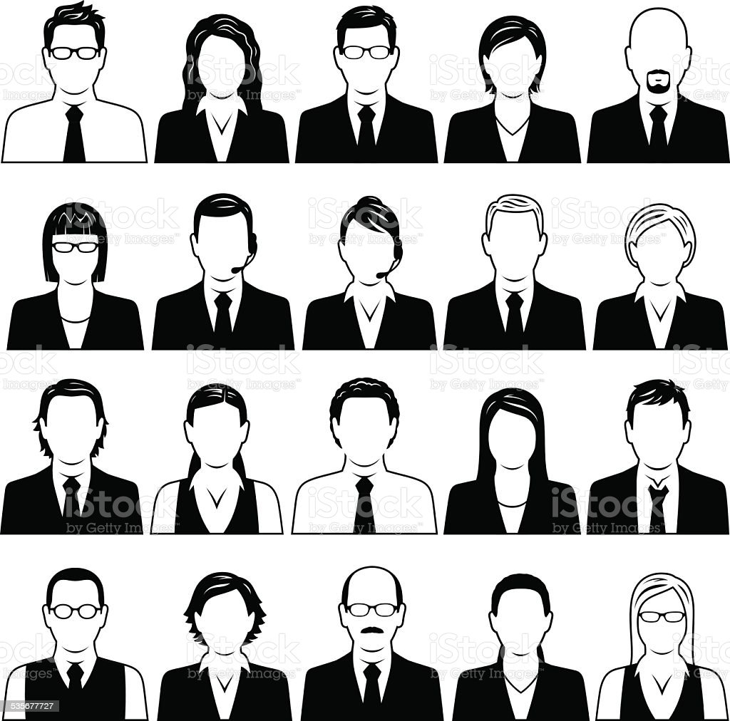 Business People Symbols vector art illustration