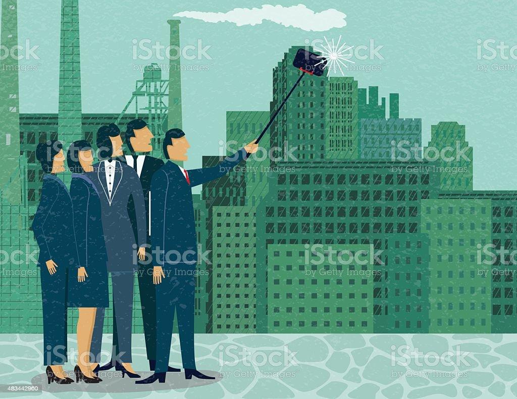 Business People Taking A Self-portrait Using A Selfie Stick vector art illustration