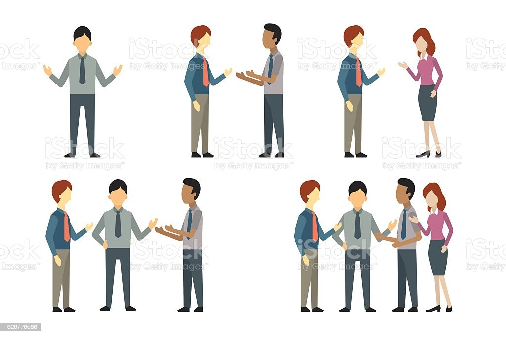 Business people talking vector art illustration