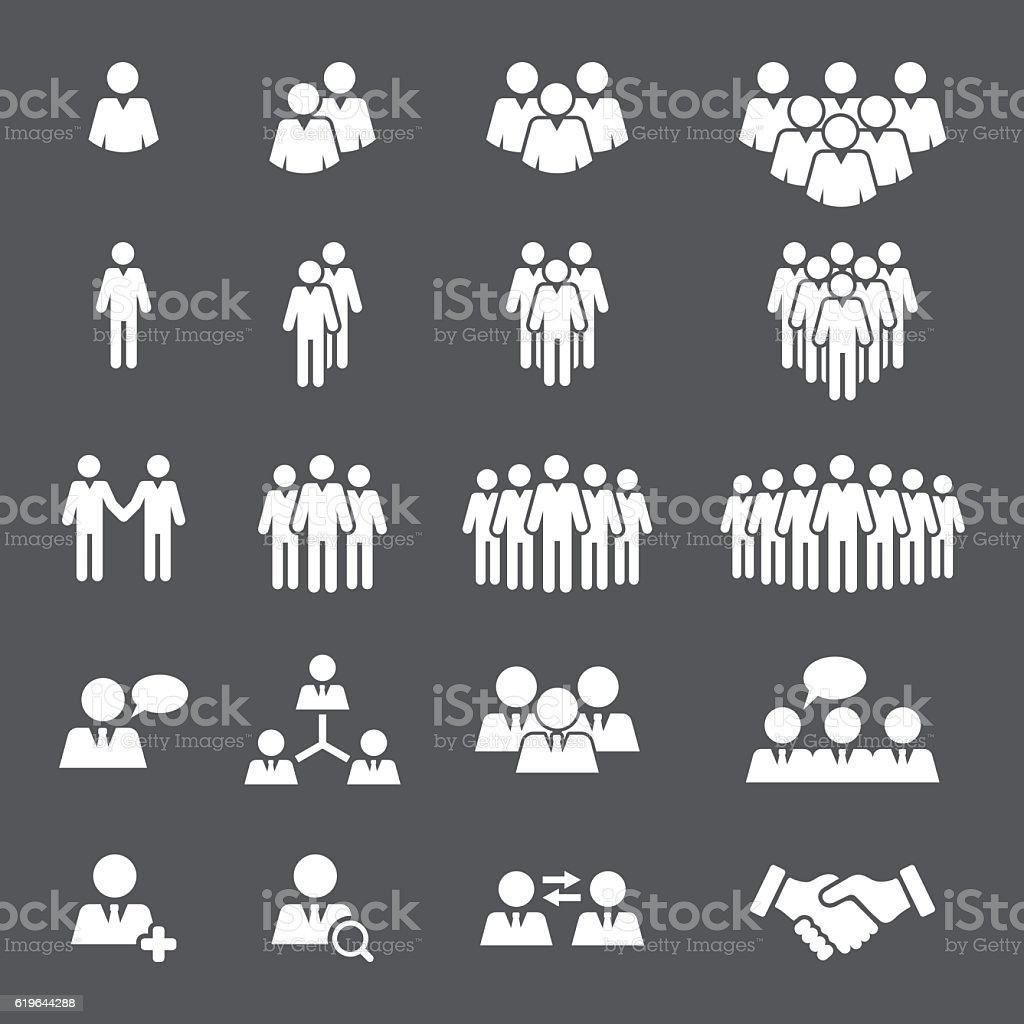 Business People Team Icon Set vector art illustration