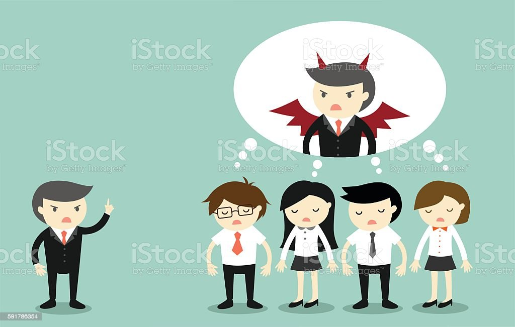 Business people thinking that boss is a devil. vector art illustration