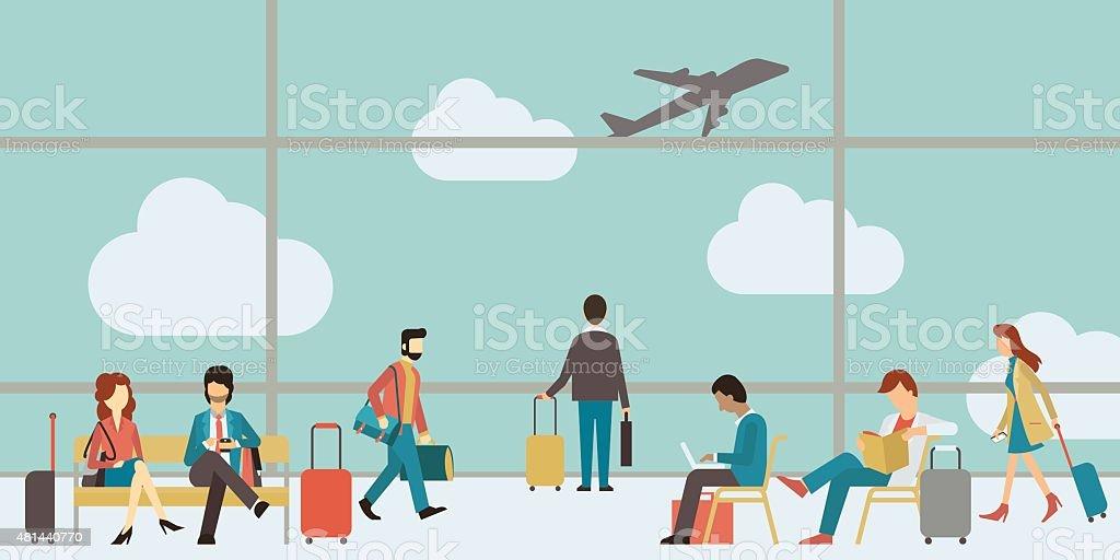 Business people travel vector art illustration