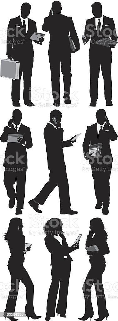 Business people using technology vector art illustration