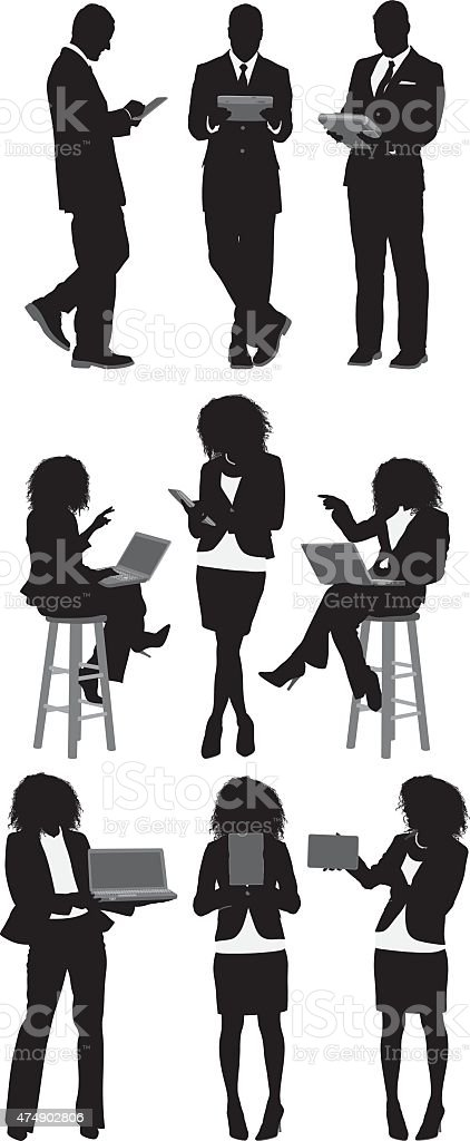 Business people using technology vector art illustration