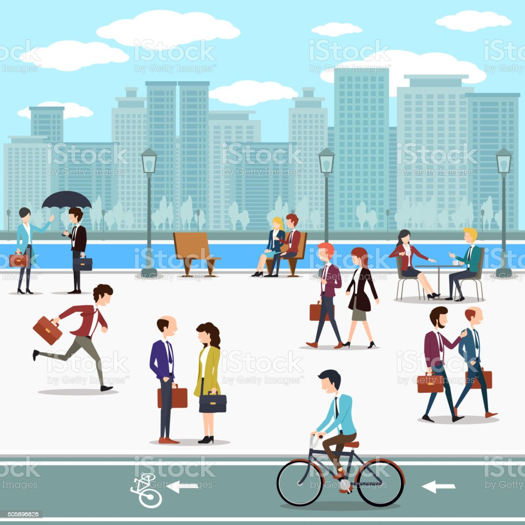 Business people walking on the street and skyline skyscrapers background vector art illustration