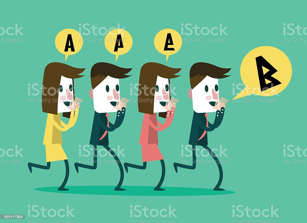 business people whisper some message to middle people wrong communication. vector art illustration