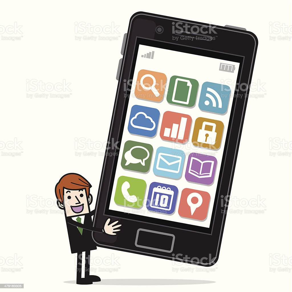Business people with a big smartphone royalty-free stock vector art
