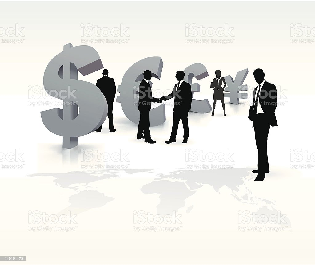 Business people with currency symbols royalty-free stock vector art