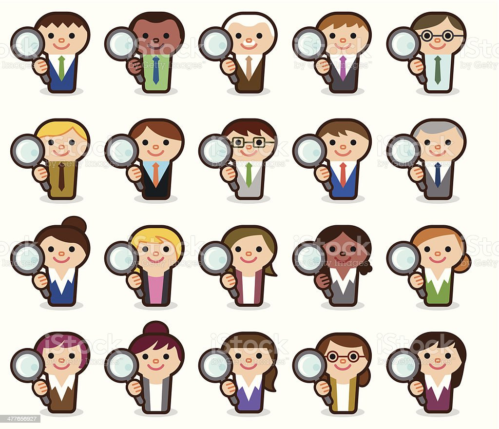 Business people with magnifying glass vector art illustration