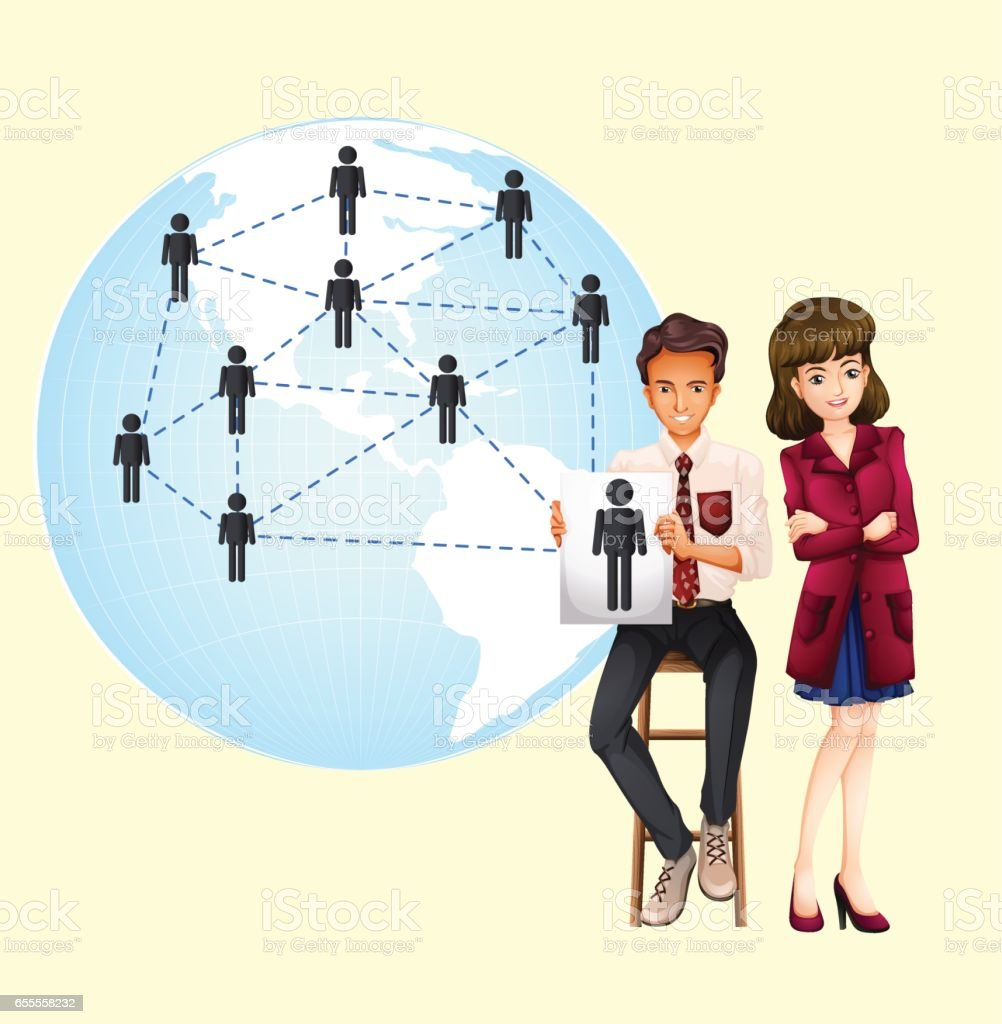 Business people with map of the world vector art illustration