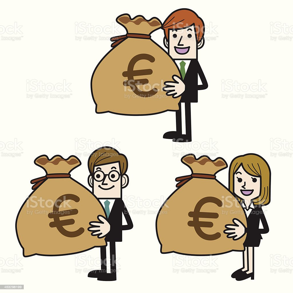 Business people with money bag (euro) vector art illustration