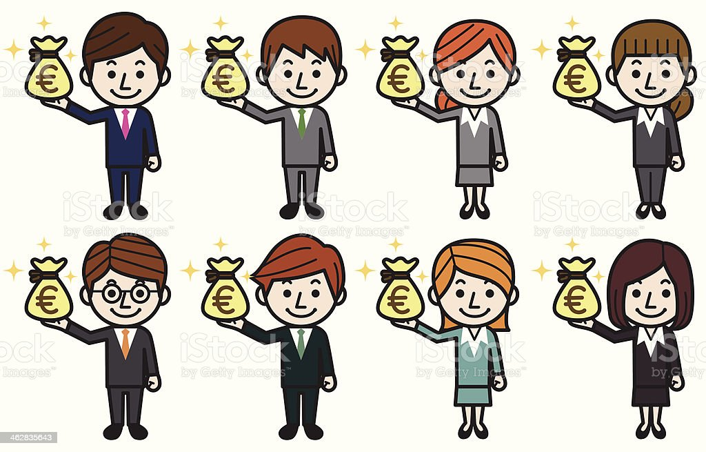 Business people with money bag(euro) royalty-free stock vector art