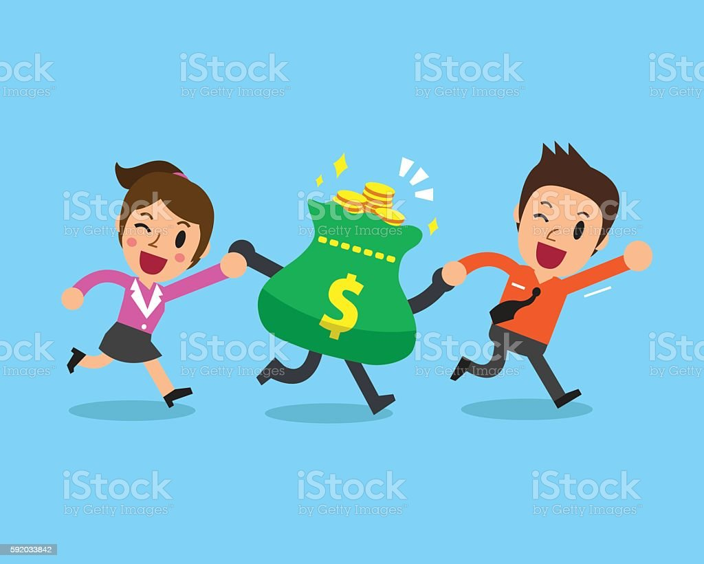 Business people with money bag vector art illustration