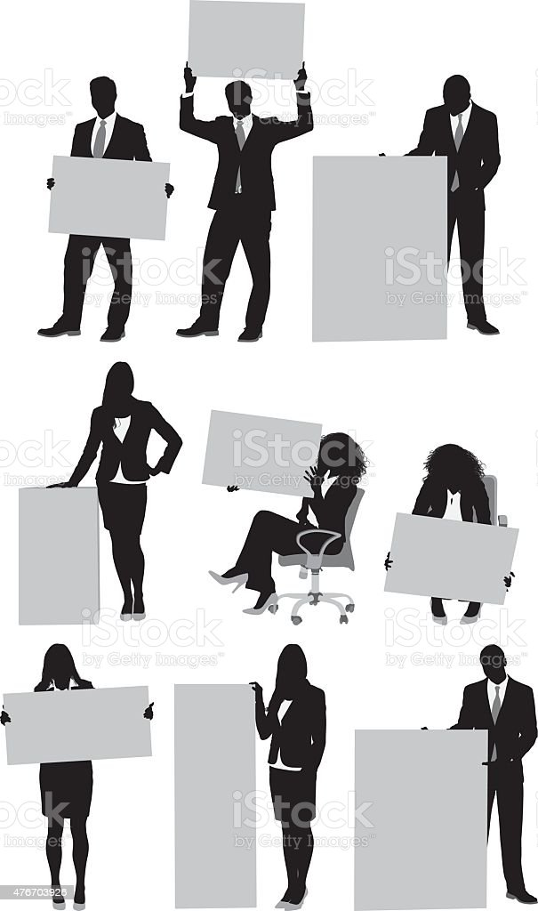 Business people with placard vector art illustration