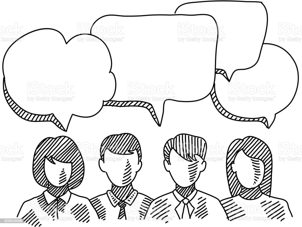Business people with Speech bubbles Drawing vector art illustration