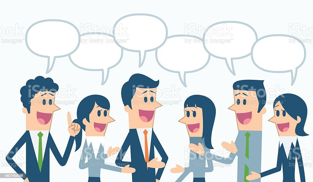 Business people with speech bubbles vector art illustration