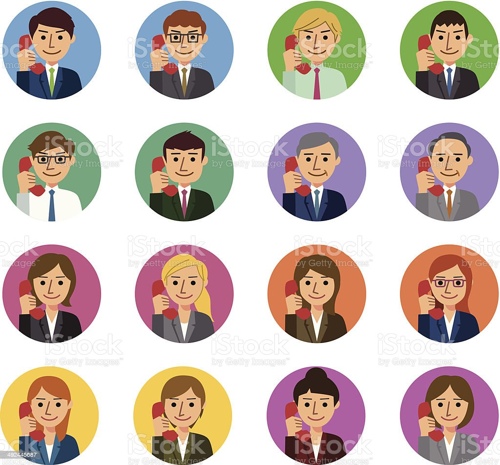 Business people with telephone vector art illustration