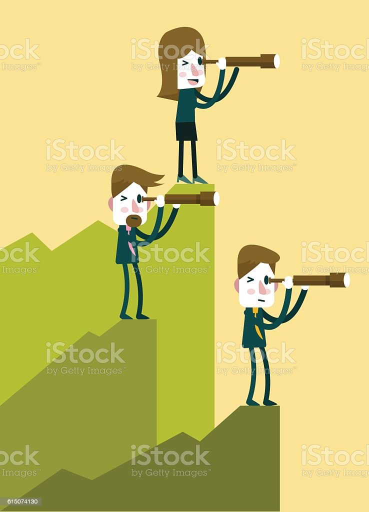 Business people with telescope in top of mountain perspective. vector art illustration