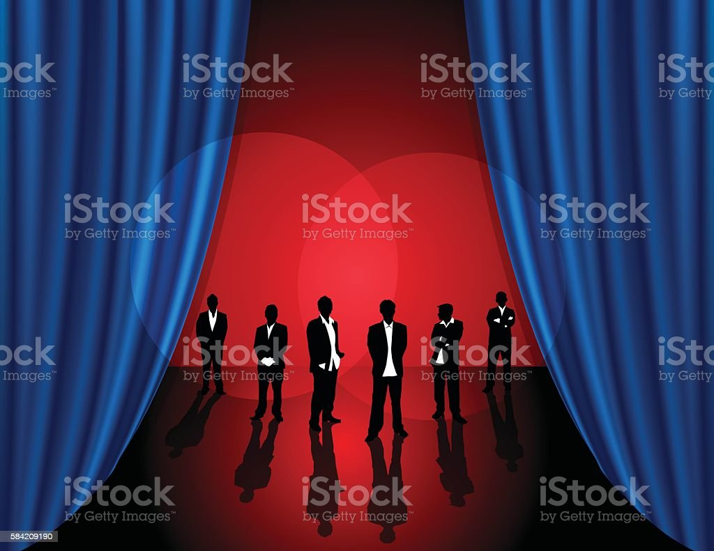 Business People with Theater Stage Background vector art illustration