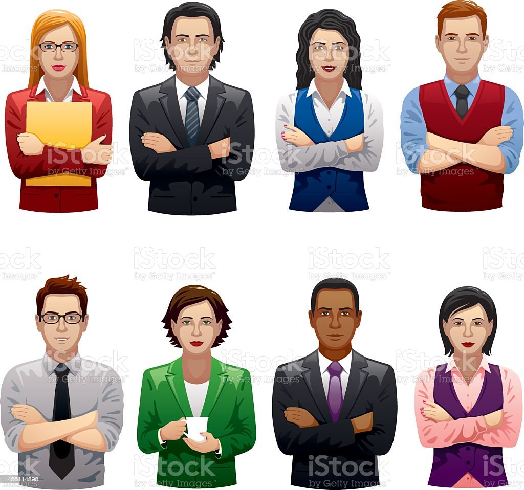 Business People with Their Arms Crossed vector art illustration