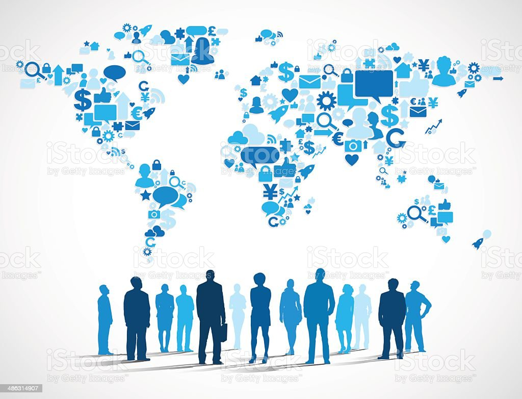 Business People with World Social Media Map vector art illustration