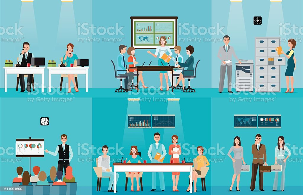 Business people working in office vector art illustration