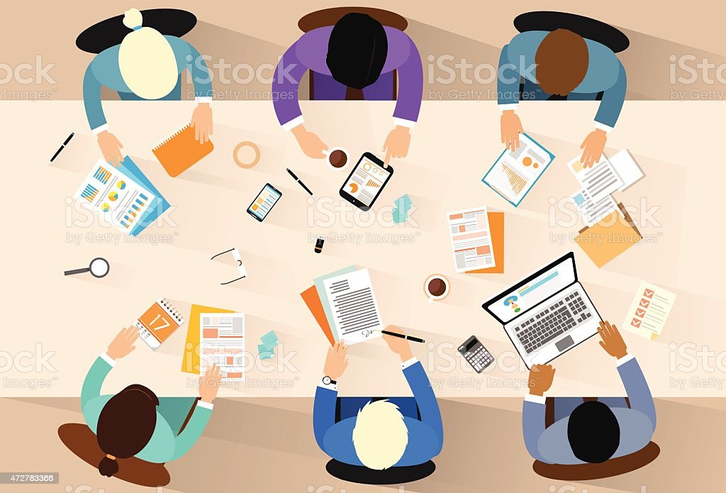 Business People Workplace Top Angle View Sitting At Office Desk vector art illustration
