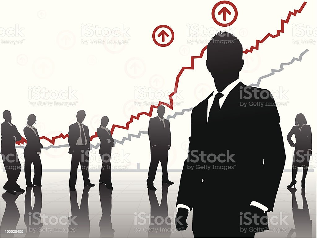 Business people's silhouettes standing under graphs royalty-free stock vector art