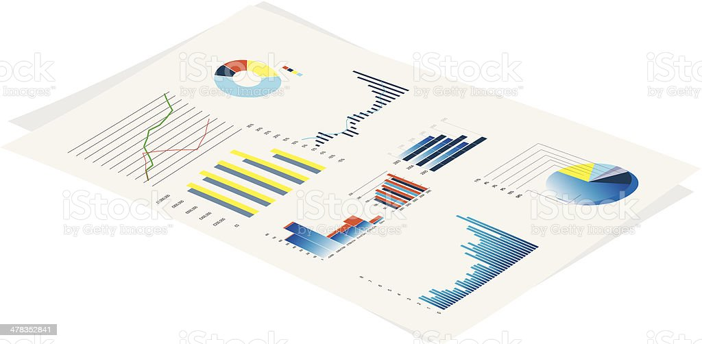 business performance graphs royalty-free stock vector art