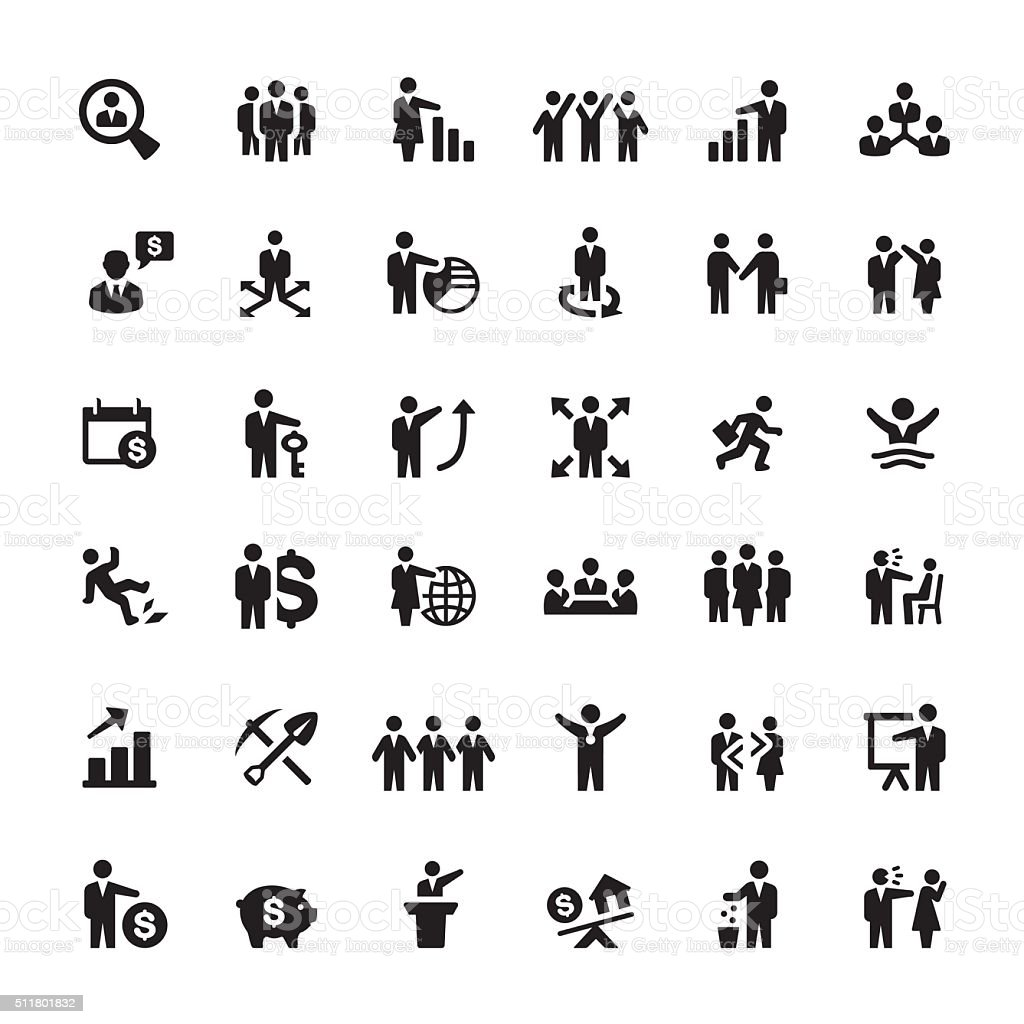 Business Person and Human Resources vector icons vector art illustration