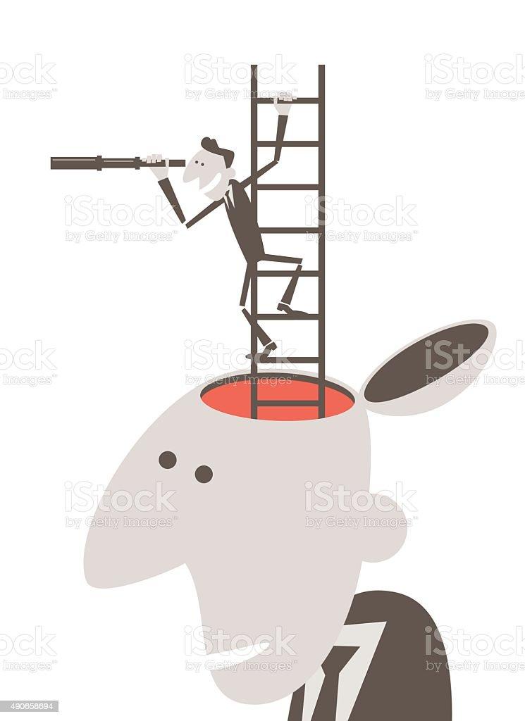 business person looking through telescope on ladder inside businessman head vector art illustration