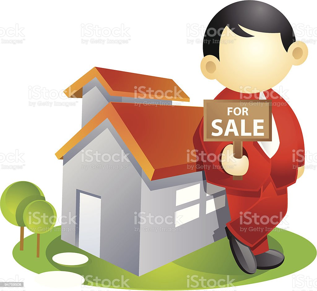 Business person - selling house vector art illustration