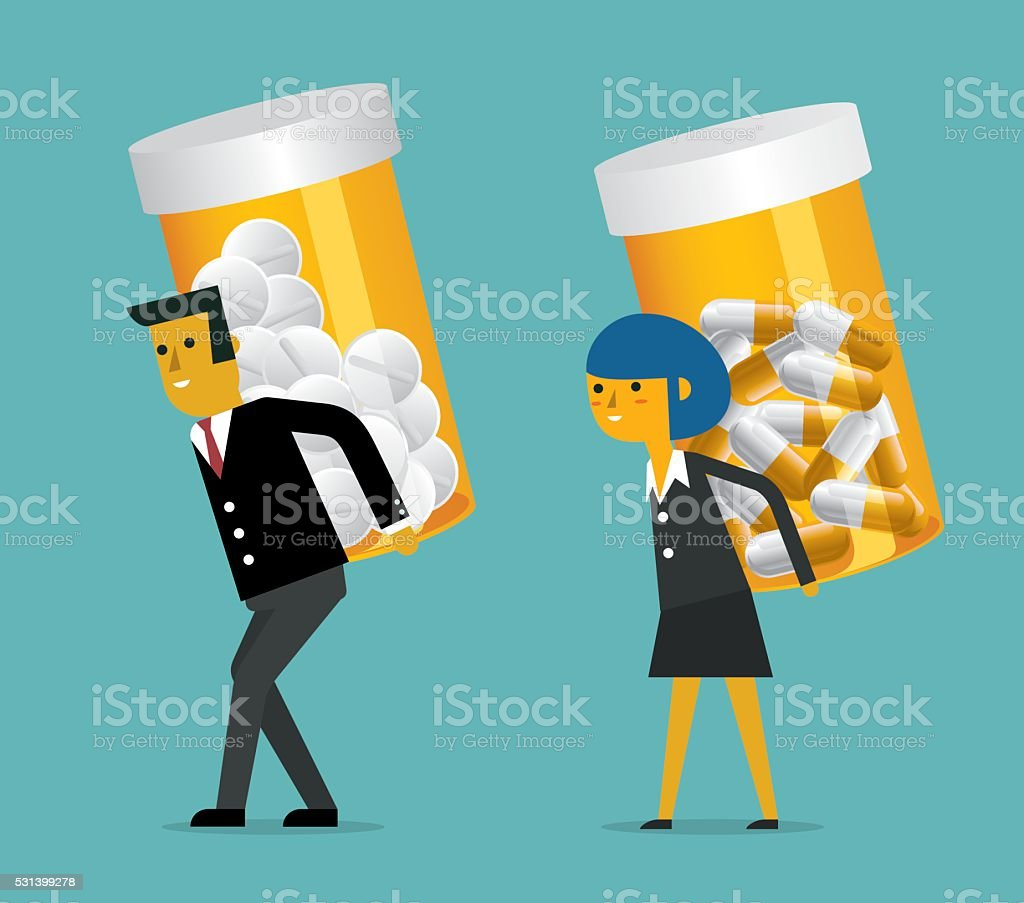 Business Person with pill bottle vector art illustration