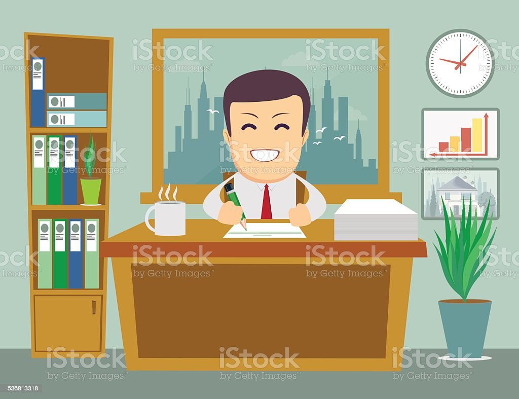 business person working in office hour vector art illustration