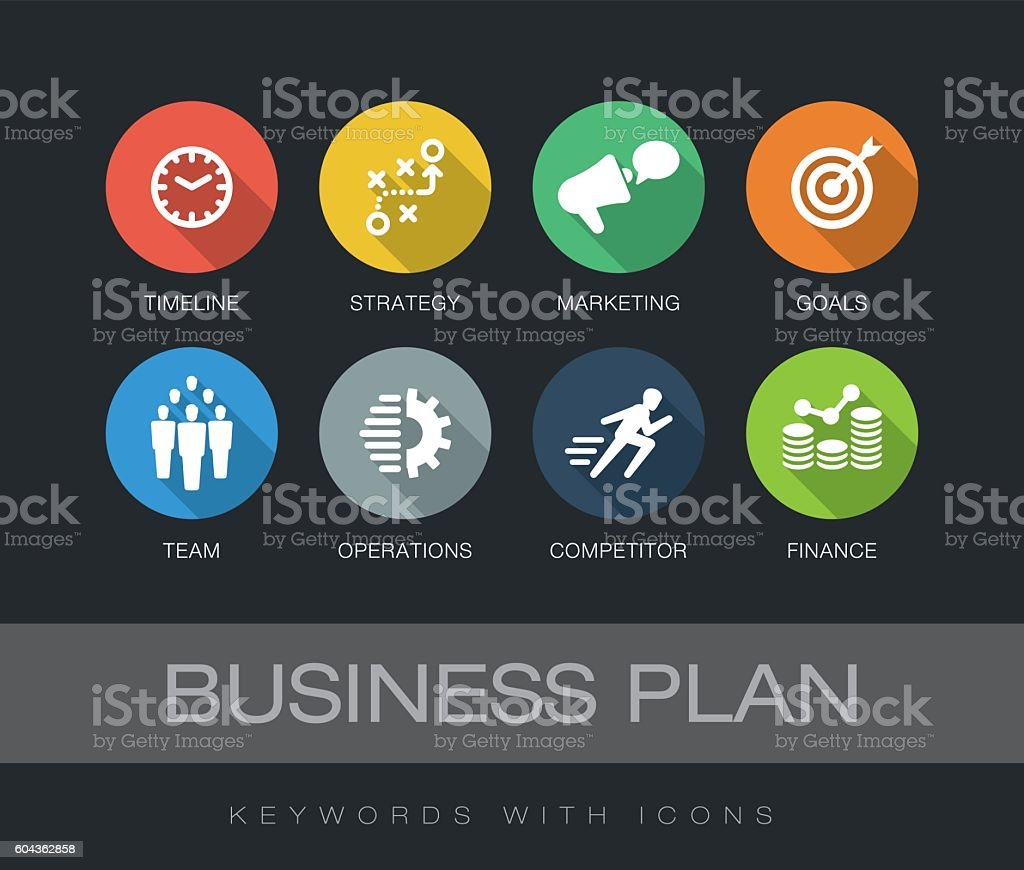 Business Plan keywords with icons vector art illustration