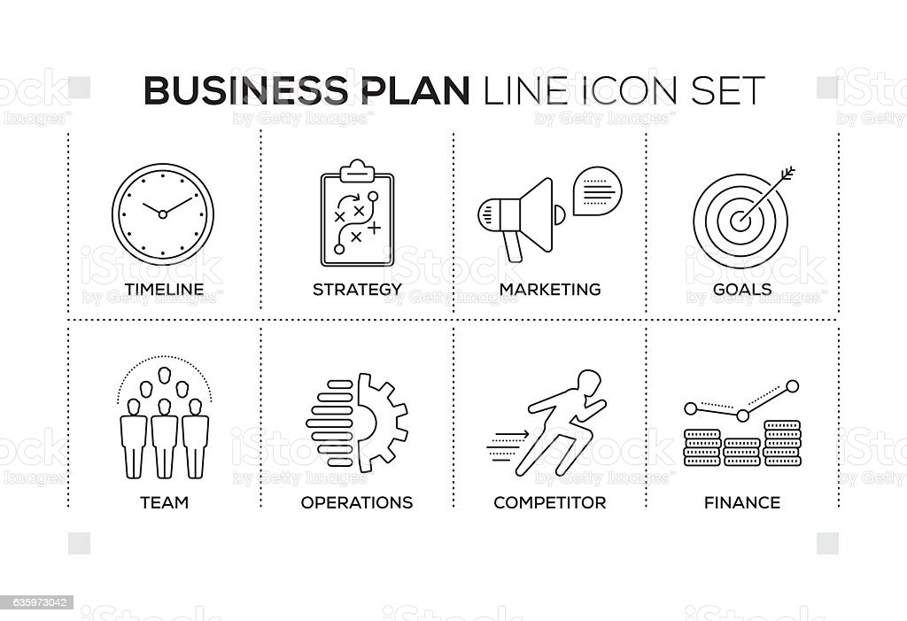 Business Plan keywords with monochrome line icons vector art illustration