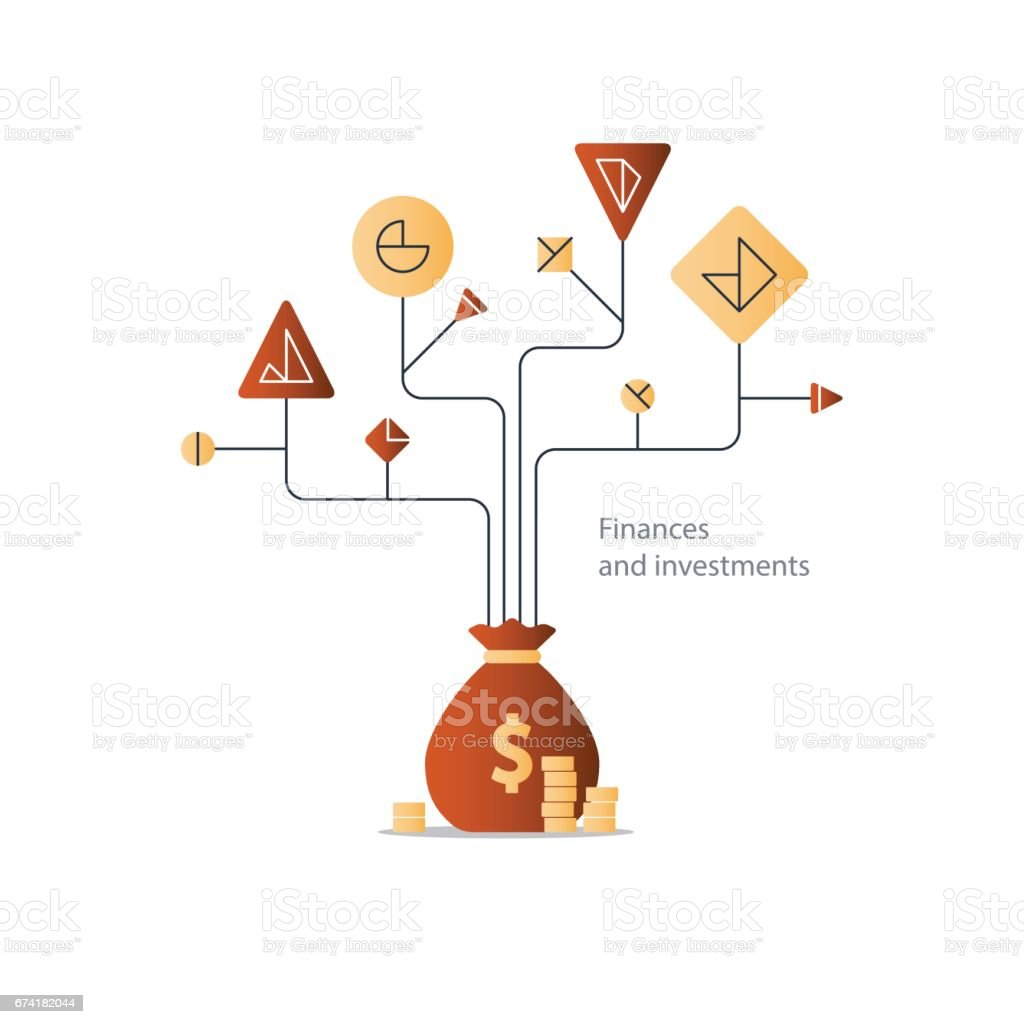 Business plan, start up investment, finance education tree, budget management vector art illustration