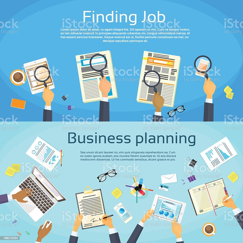 Business Planning Searching Job Web Banner Flat vector art illustration