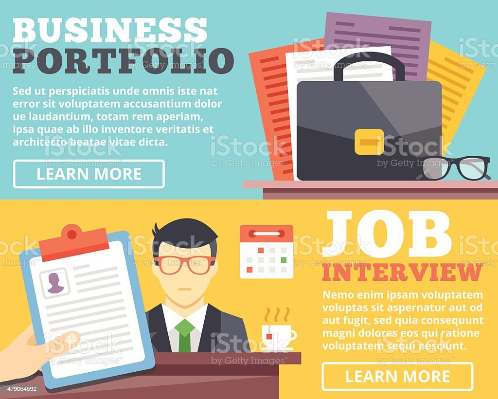 business portfolio job interview flat illustration concepts set business portfolio job interview flat illustration concepts set royalty stock vector art