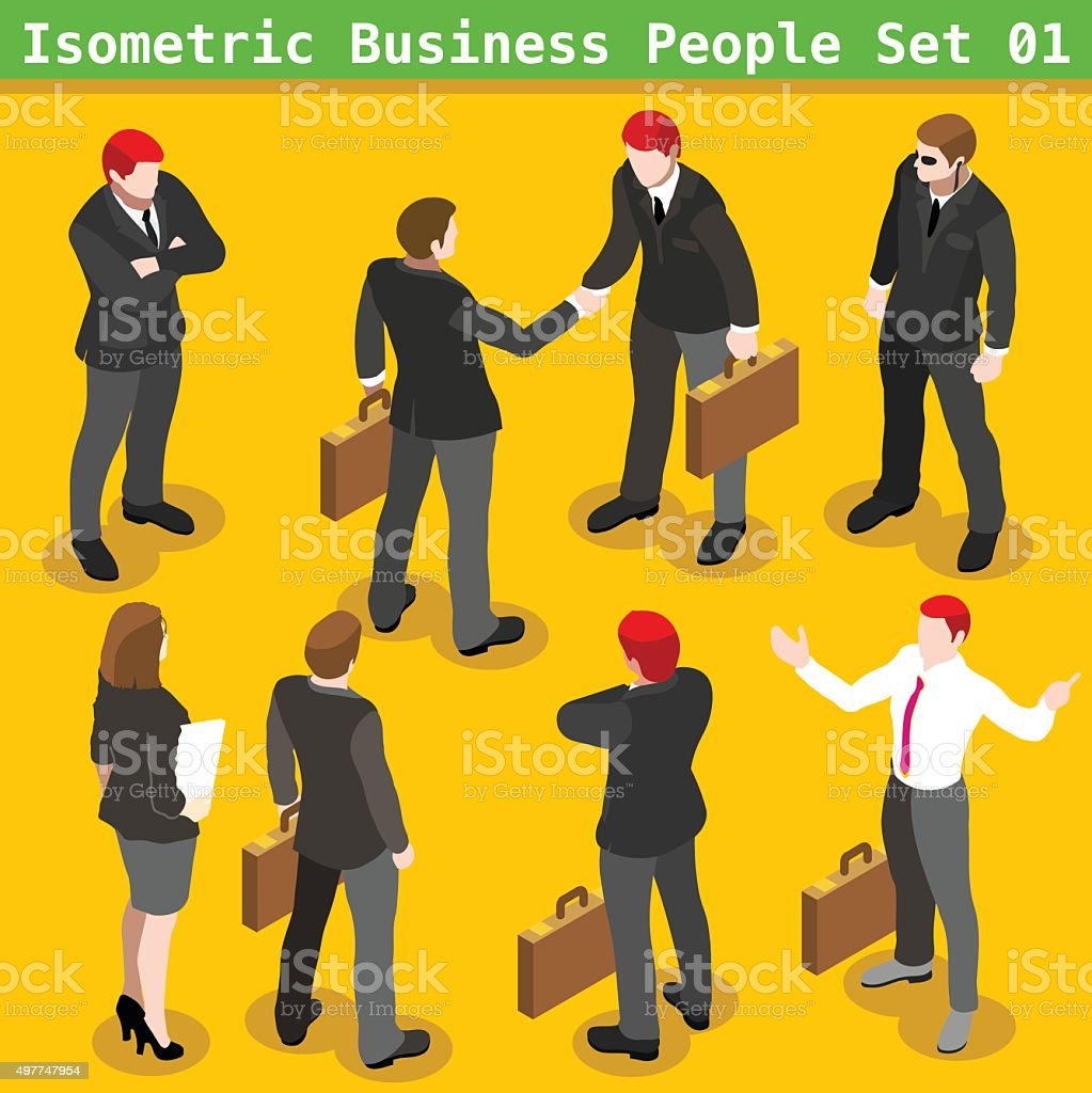 Business Poses 01 People Isometric vector art illustration