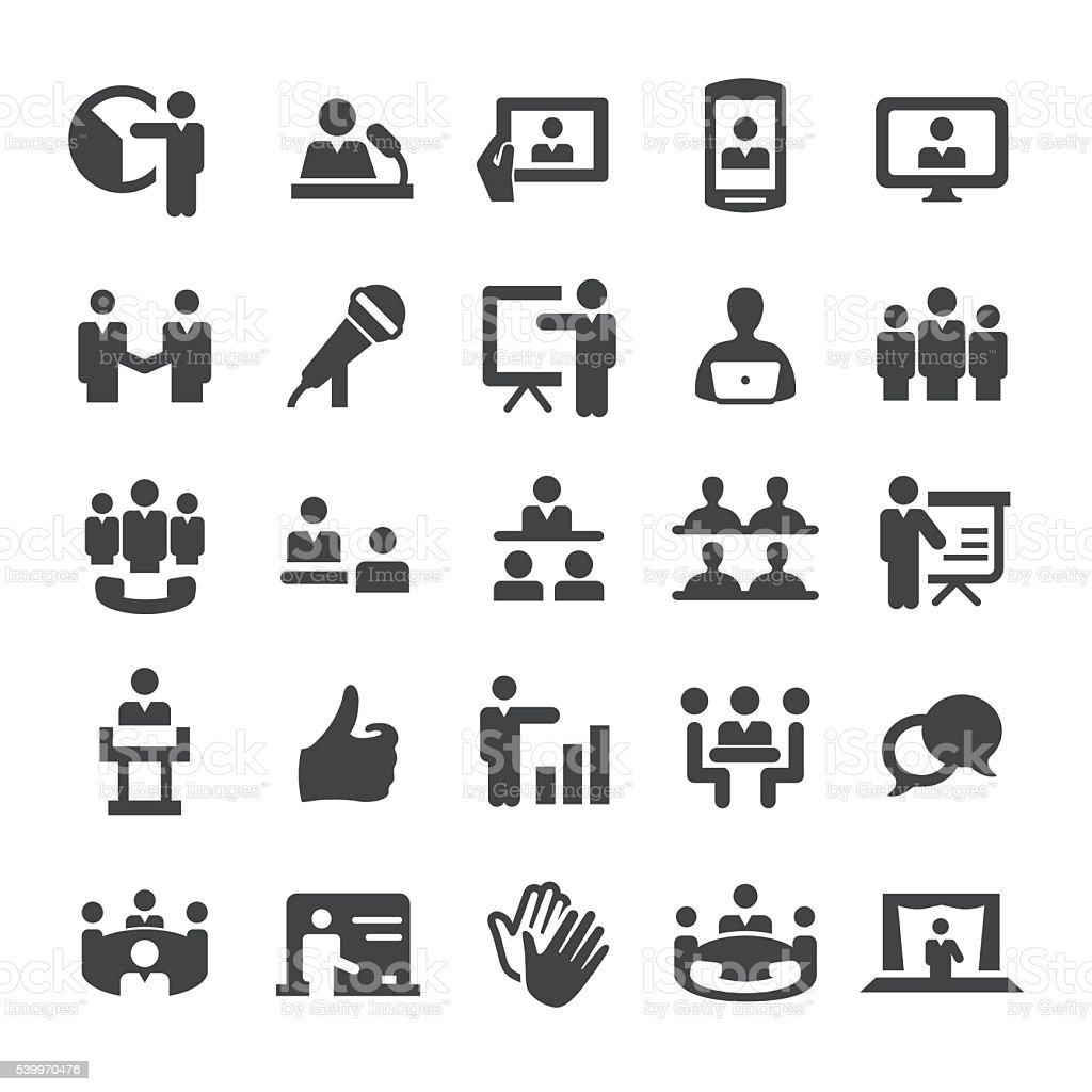 Business Presentation and Meeting Icons - Smart Series vector art illustration