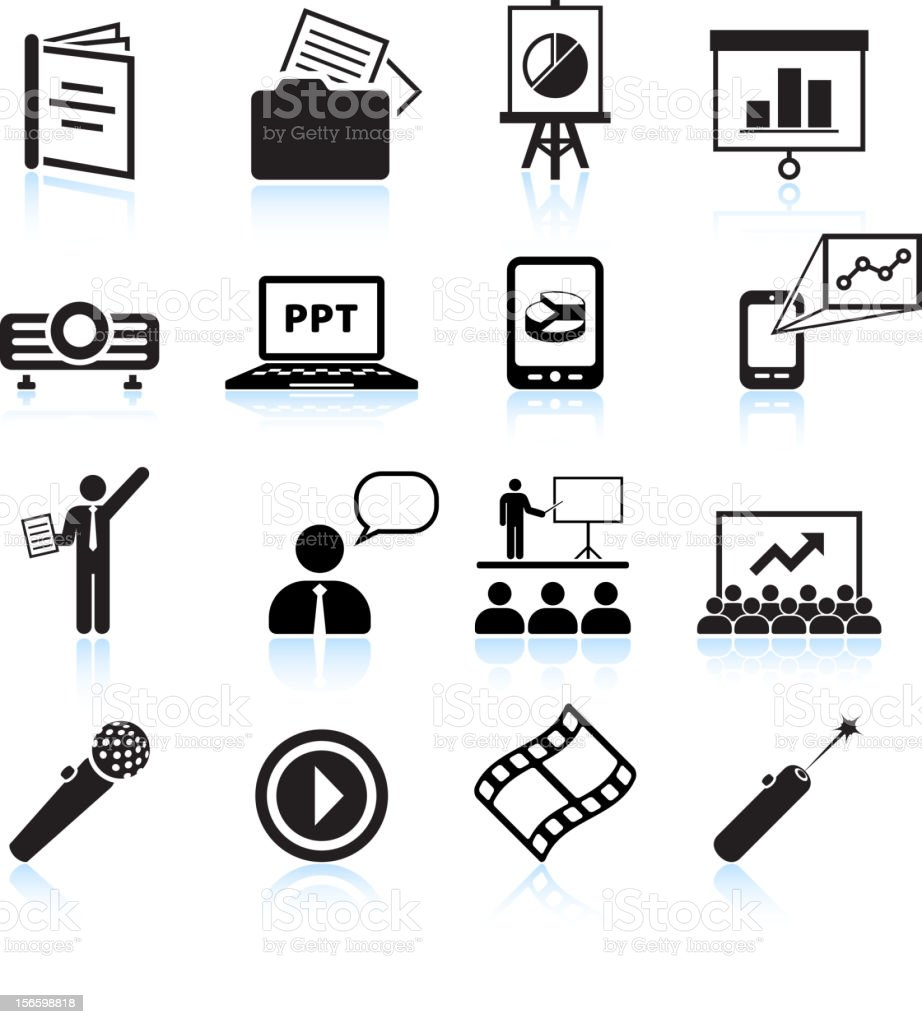 Business presentation black & white royalty free vector icon set vector art illustration
