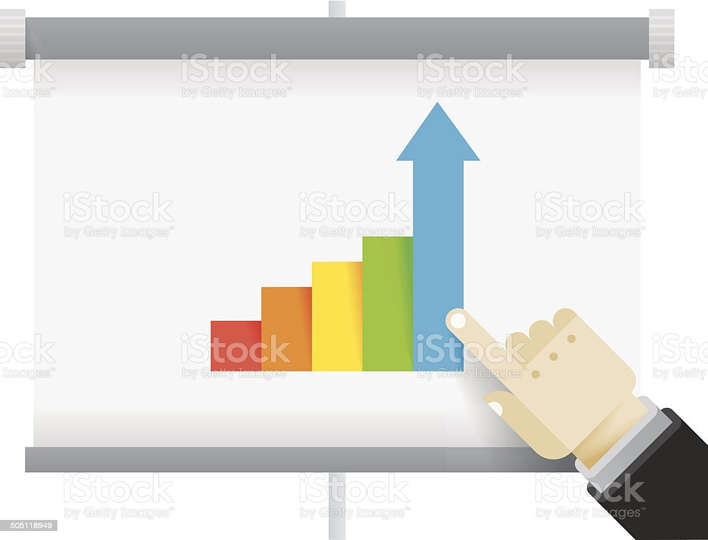 Business presentation display board with businessman hand and growth graph royalty-free stock vector art